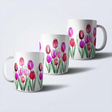 """Дизайнерская кружка """"Тюльпаны"""""""